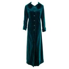 Vintage 1970's Harella of England Teal Blue-Green Velvet Back Belted Maxi Coat