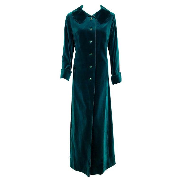 Vintage 1970's Harella of England Teal Blue-Green Velvet Back Belted Maxi Coat For Sale