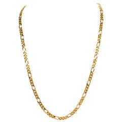 Vintage 1970s Heavy Figaro Gold Long Chain Necklace