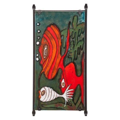 Vintage 1970s Heibi Keramik West Germany Pottery Large Wall Plaque with Fish