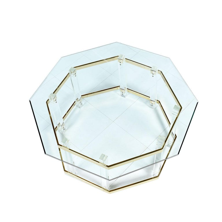 Mid-Century Modern Acrylic Lucite Glass and Brass Coffee Table 1970s Hollywood Regency For Sale