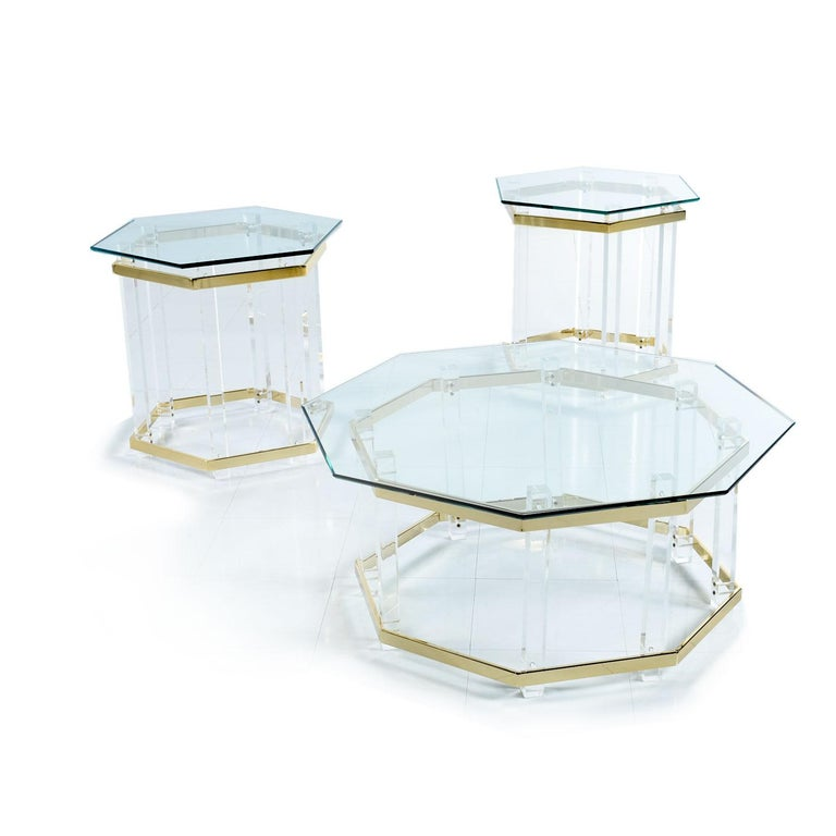 Late 20th Century Acrylic Lucite Glass and Brass Coffee Table 1970s Hollywood Regency For Sale
