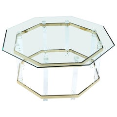 Vintage 1970s Hollywood Regency Acrylic Lucite Glass and Brass Coffee Table