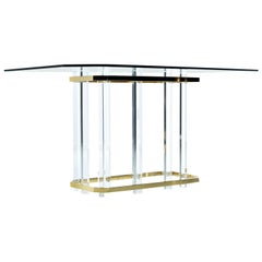 Vintage 1970s Hollywood Regency Acrylic Lucite Glass and Brass Dining Table