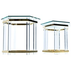 Vintage 1970s Hollywood Regency Acrylic Lucite Glass and Brass End Tables