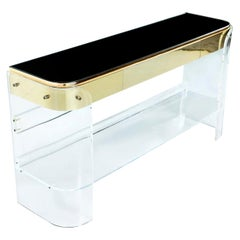 Vintage 1970s Hollywood Regency Gold Brass Lucite Acrylic Console Sofa Table