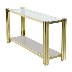 Vintage 1970s Hollywood Regency Gold Brass Tubular Aluminum Console Sofa Table