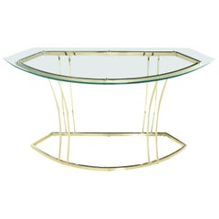Vintage 1970s Hollywood Regency Gold Colored Brass Console Table