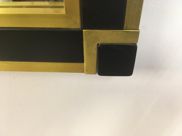 Vintage 1970s Italian Brass and Black Metal Console Table and Mirror For Sale 6