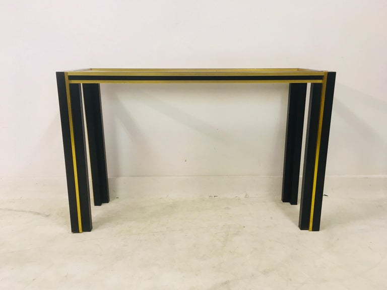 Vintage 1970s Italian Brass and Black Metal Console Table and Mirror In Fair Condition For Sale In London, London