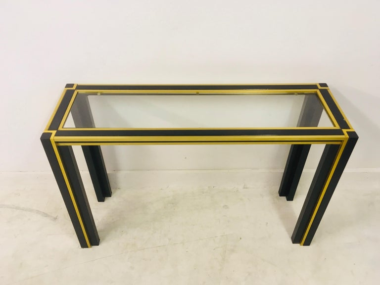 20th Century Vintage 1970s Italian Brass and Black Metal Console Table and Mirror For Sale