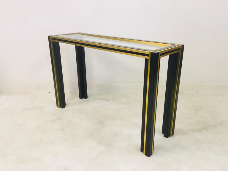 Vintage 1970s Italian Brass and Black Metal Console Table and Mirror For Sale 1