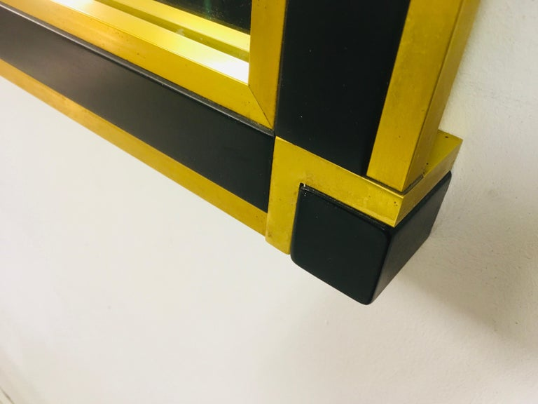 Vintage 1970s Italian Brass and Black Metal Console Table and Mirror For Sale 3