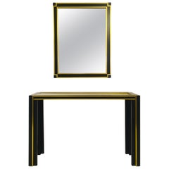 Vintage 1970s Italian Brass and Black Metal Console Table and Mirror