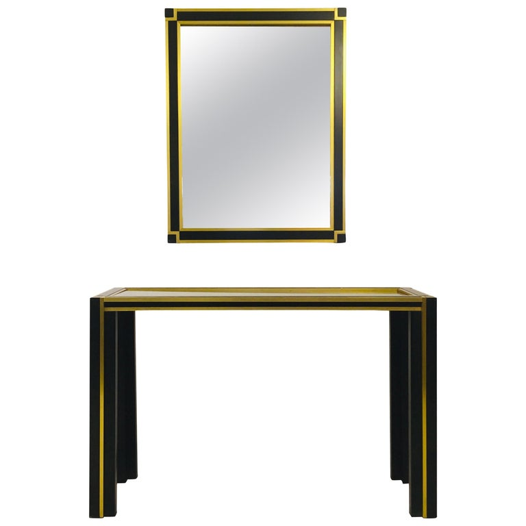 Vintage 1970s Italian Brass and Black Metal Console Table and Mirror For Sale