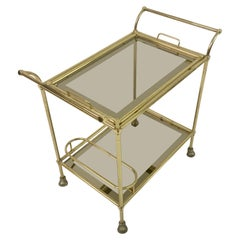 Vintage 1970s Italian Brass Drinks Trolley or Bar Cart