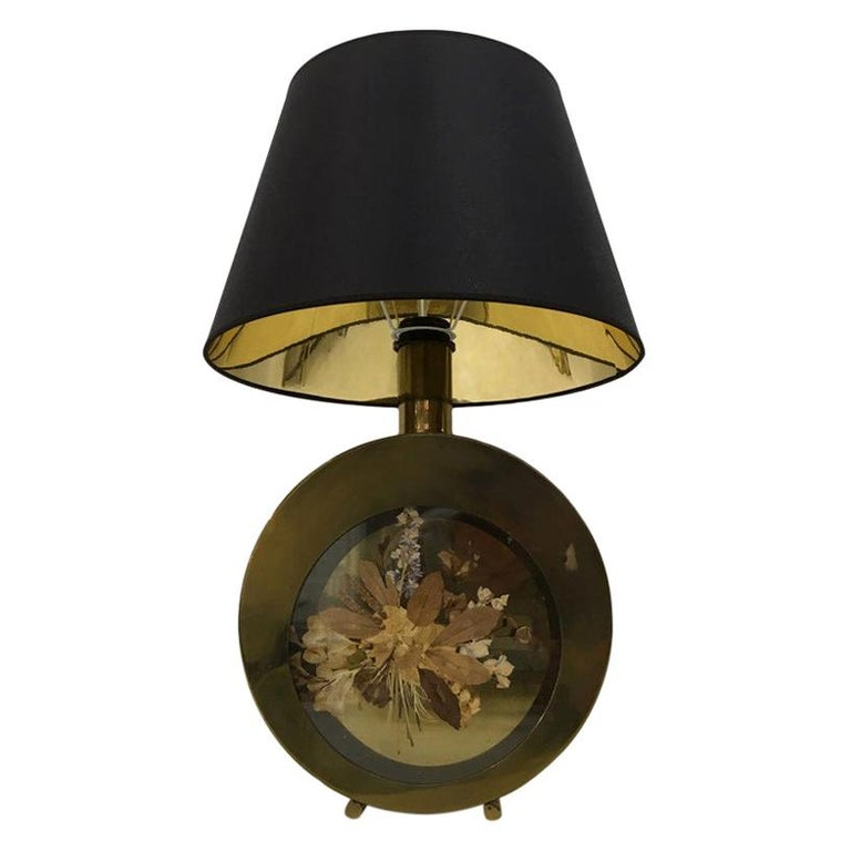 Vintage 1970s Italian Brass Table Lamp with Flowers For Sale