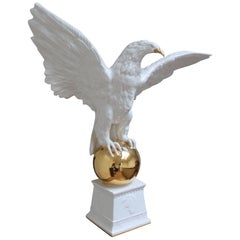 Italian White Ceramic Eagle Statue with Wings Spread, 1970s