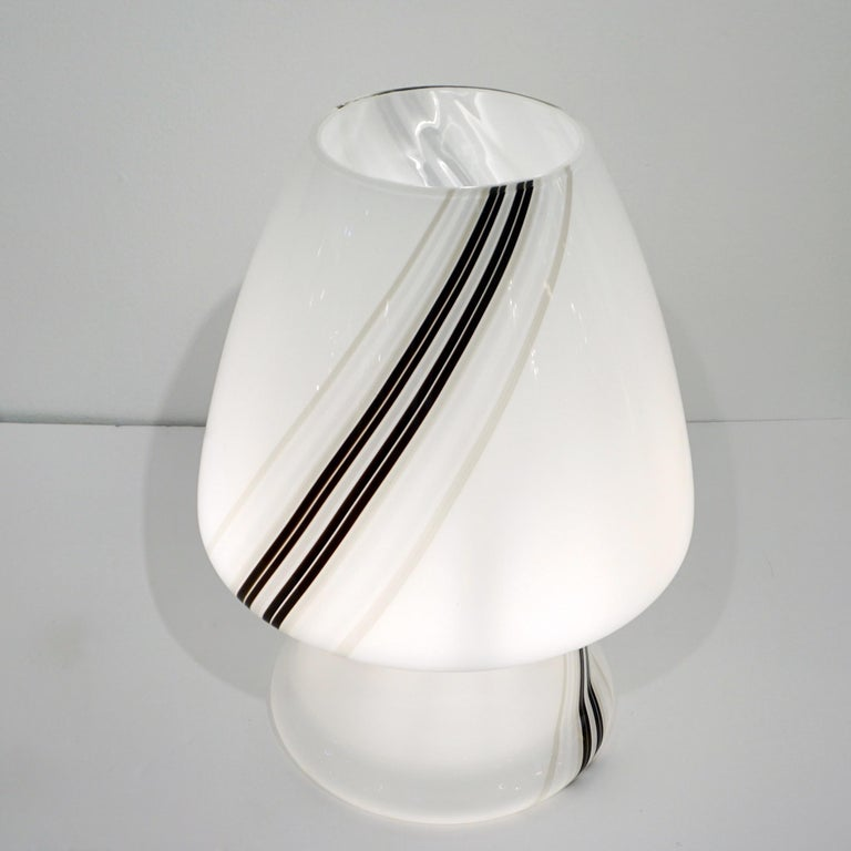 Vintage 1970s Italian Large White Lamp with Black Murrine Attributed to Vistosi For Sale 5