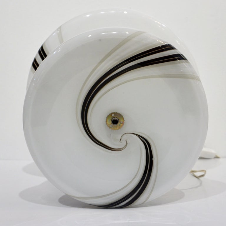 Vintage 1970s Italian Large White Lamp with Black Murrine Attributed to Vistosi For Sale 8