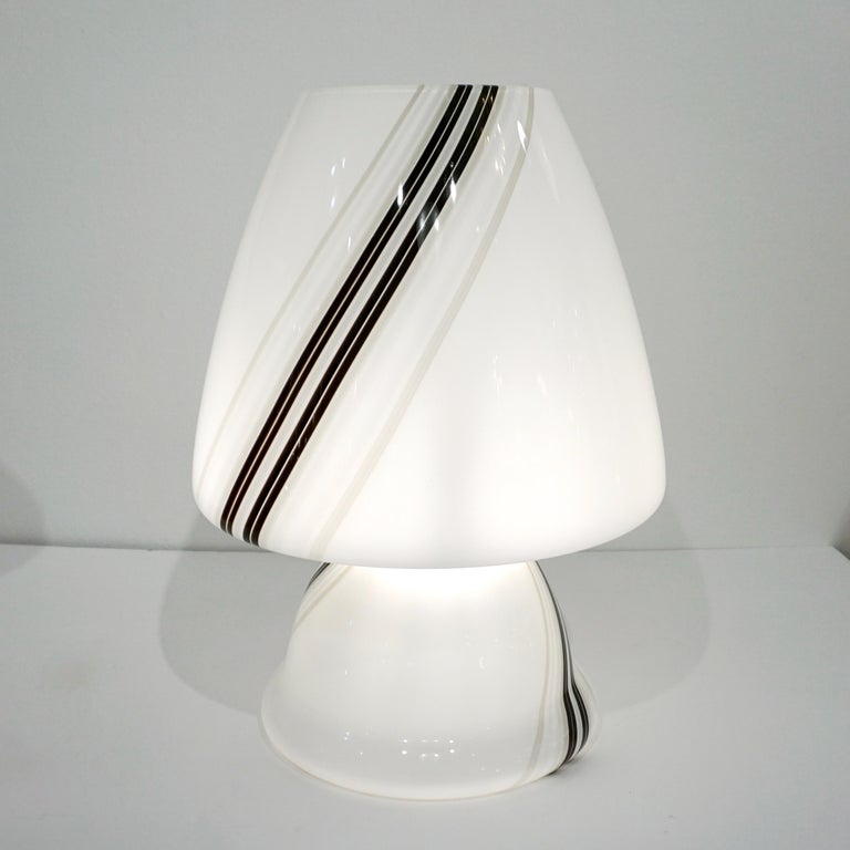 Vintage 1970s Italian Large White Lamp with Black Murrine Attributed to Vistosi For Sale 1