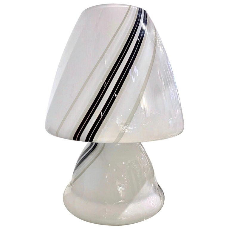 Vintage 1970s Italian Large White Lamp with Black Murrine Attributed to Vistosi For Sale