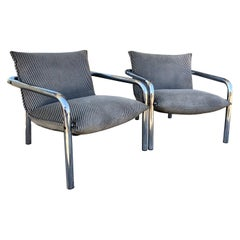 Vintage 1970s Italian Pair of Tubular Chrome Armchairs
