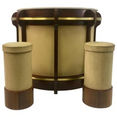 Vintage 1970s Italian Walnut and Brass Bar and Stools by Luciano Frigerio