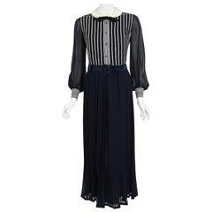 Vintage 1970's Jacques Reval Paris Navy Chiffon Sequin-Stripe Pleated Maxi Dress