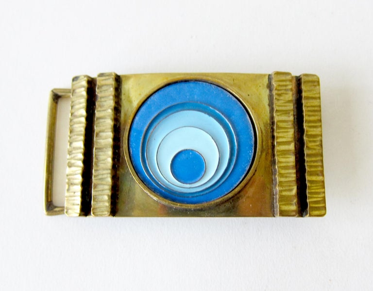 1970's bronze belt buckle with psychedelic modern enamel design, created by James Frappe of Pittsburgh, Pennsylvania.  Buckle measures 1 7/8