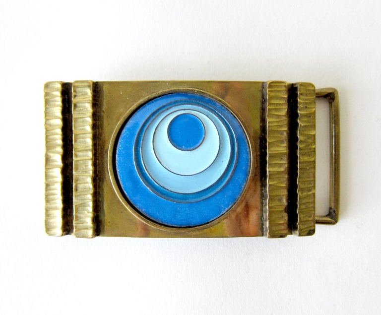 Women's or Men's Vintage 1970s James Frappe Enamel over Bronze Modernist Belt Buckle For Sale