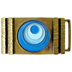 Vintage 1970s James Frappe Enamel over Bronze Modernist Belt Buckle