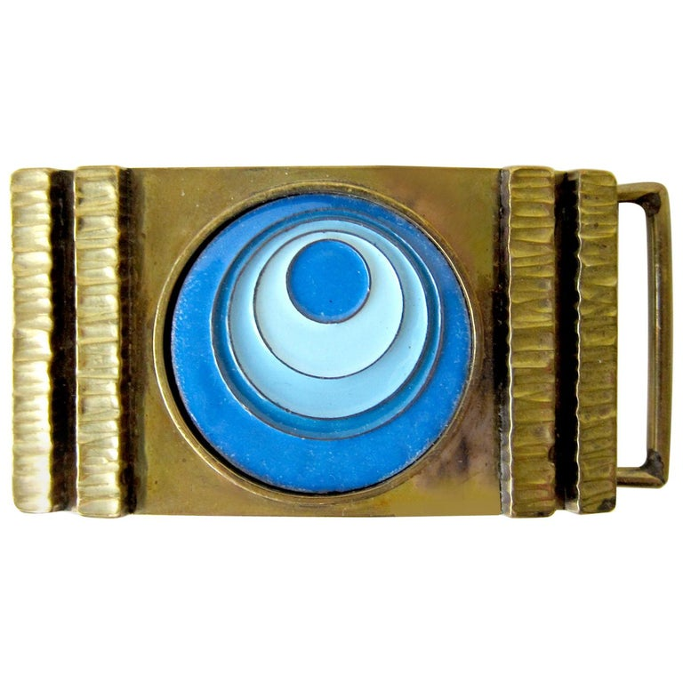 Vintage 1970s James Frappe Enamel over Bronze Modernist Belt Buckle For Sale