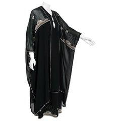 Vintage 1970's Janice Wainwright Black Novelty Sun Rain Embroidery Caftan Dress