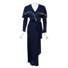 Vintage 1970's Jean Muir Beaded Sequin Navy Jersey Capelet Plunge Dress w/Tags
