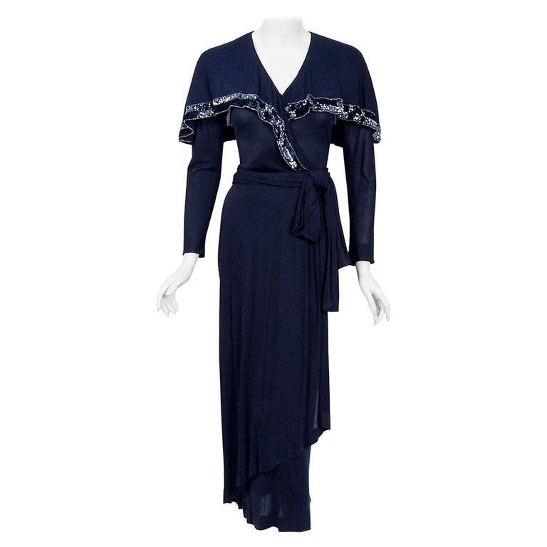 Vintage 1970's Jean Muir Beaded Sequin Navy Jersey Capelet Plunge Dress w/Tags For Sale