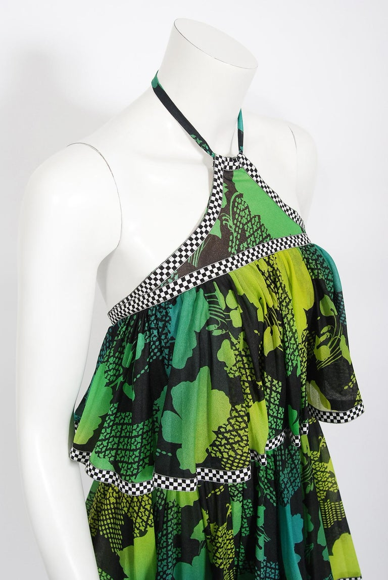 Black Vintage 1970's Jean Varon Green Graphic Floral Print Pleated Tiered Halter Dress For Sale