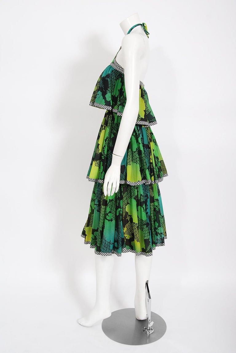 Women's Vintage 1970's Jean Varon Green Graphic Floral Print Pleated Tiered Halter Dress For Sale