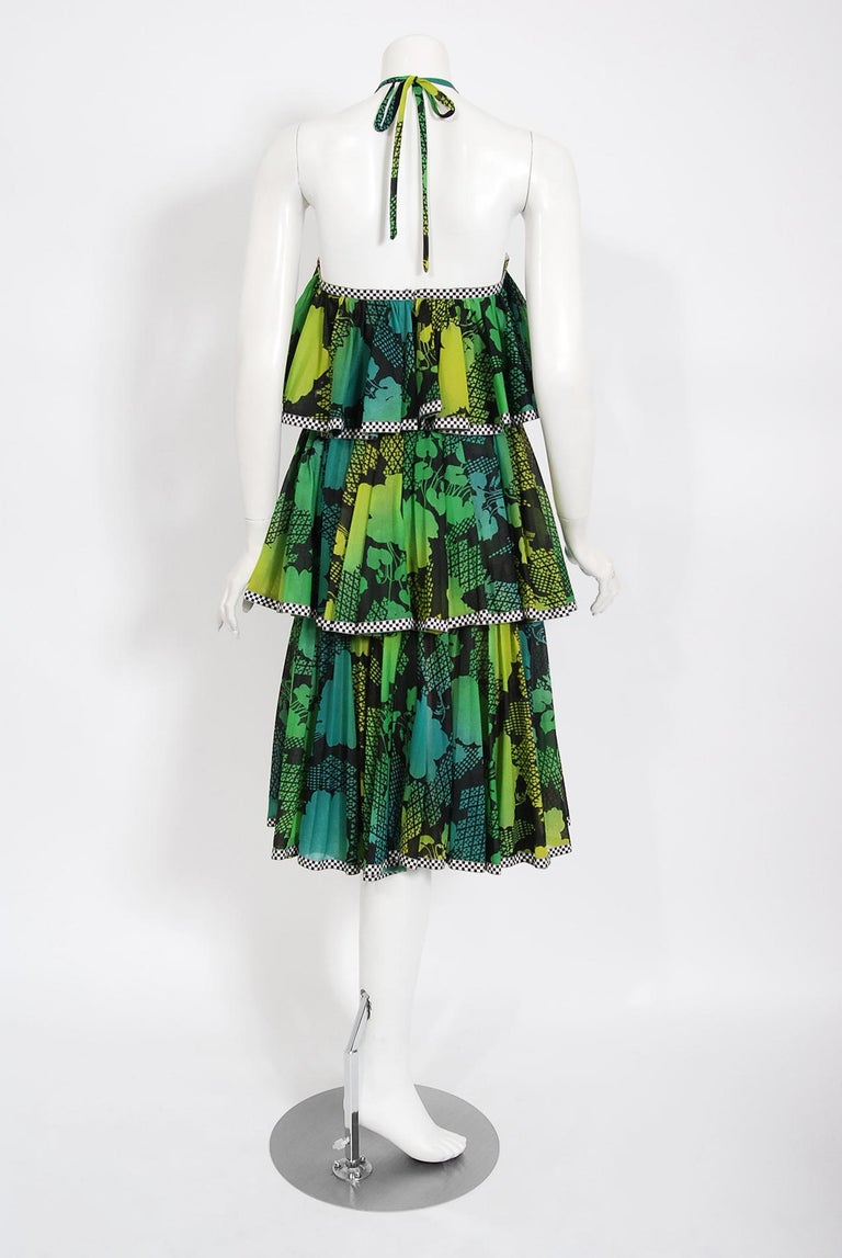 Vintage 1970's Jean Varon Green Graphic Floral Print Pleated Tiered Halter Dress For Sale 2
