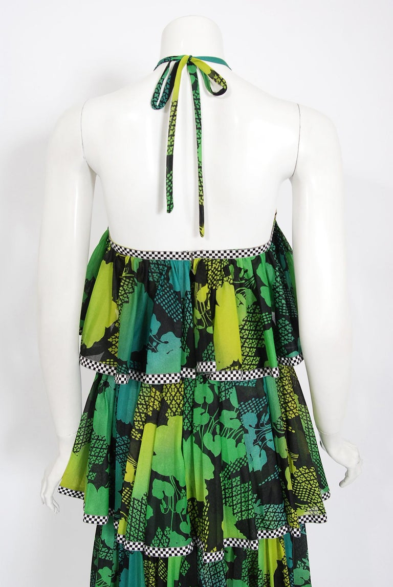 Vintage 1970's Jean Varon Green Graphic Floral Print Pleated Tiered Halter Dress For Sale 3