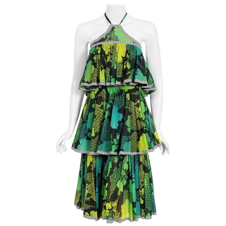Vintage 1970's Jean Varon Green Graphic Floral Print Pleated Tiered Halter Dress For Sale