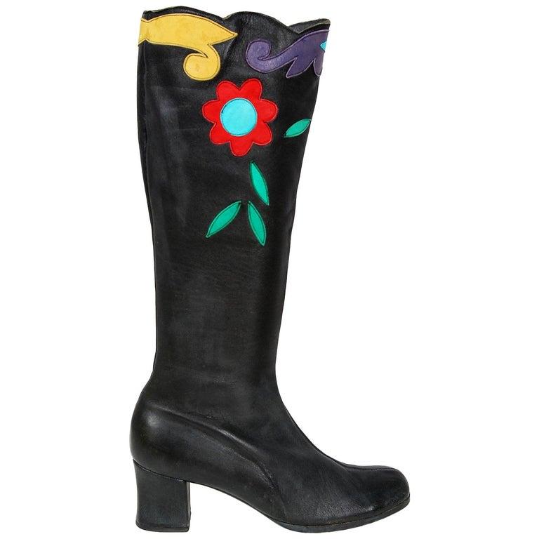 Vintage 1970's Karina of Spain Floral Applique Black Leather Knee-High Boots  For Sale
