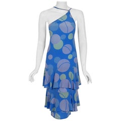 Vintage 1970's Karl Lagerfeld for Chloe Periwinkle Print Silk Asymmetric Dress