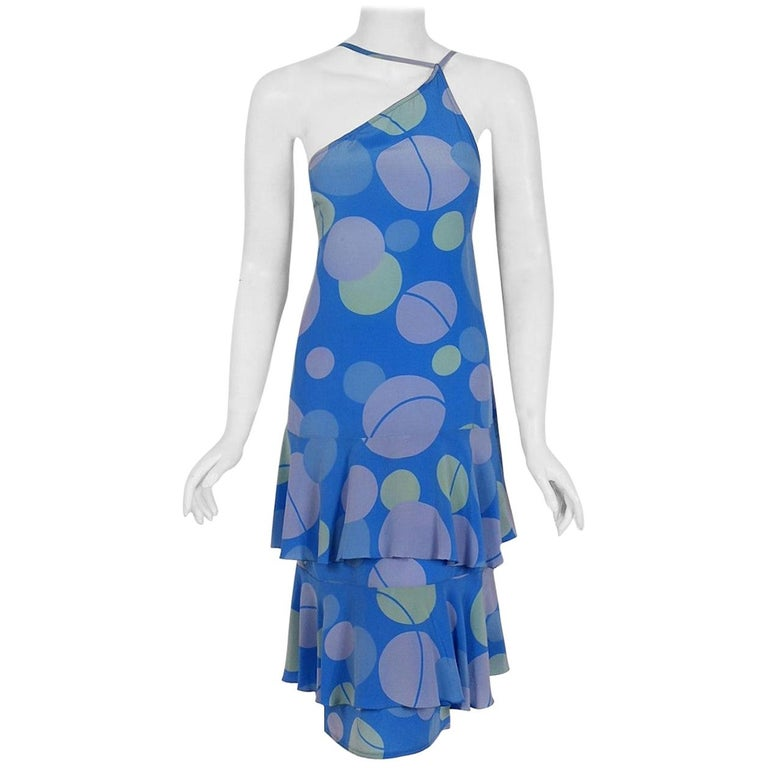 Vintage 1970's Karl Lagerfeld for Chloe Periwinkle Print Silk Asymmetric Dress For Sale