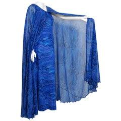 Vintage 1970's La Mendola Novelty Butterfly Print Blue Purple Silk Caftan Gown