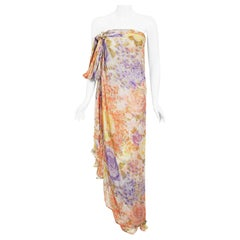 Vintage 1970's Lanvin Haute Couture Floral Print Chiffon Draped Strapless Gown