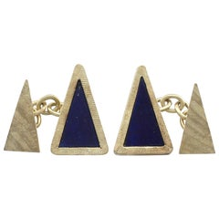 Vintage 1970s Lapis Lazuli and Yellow Gold Cufflinks