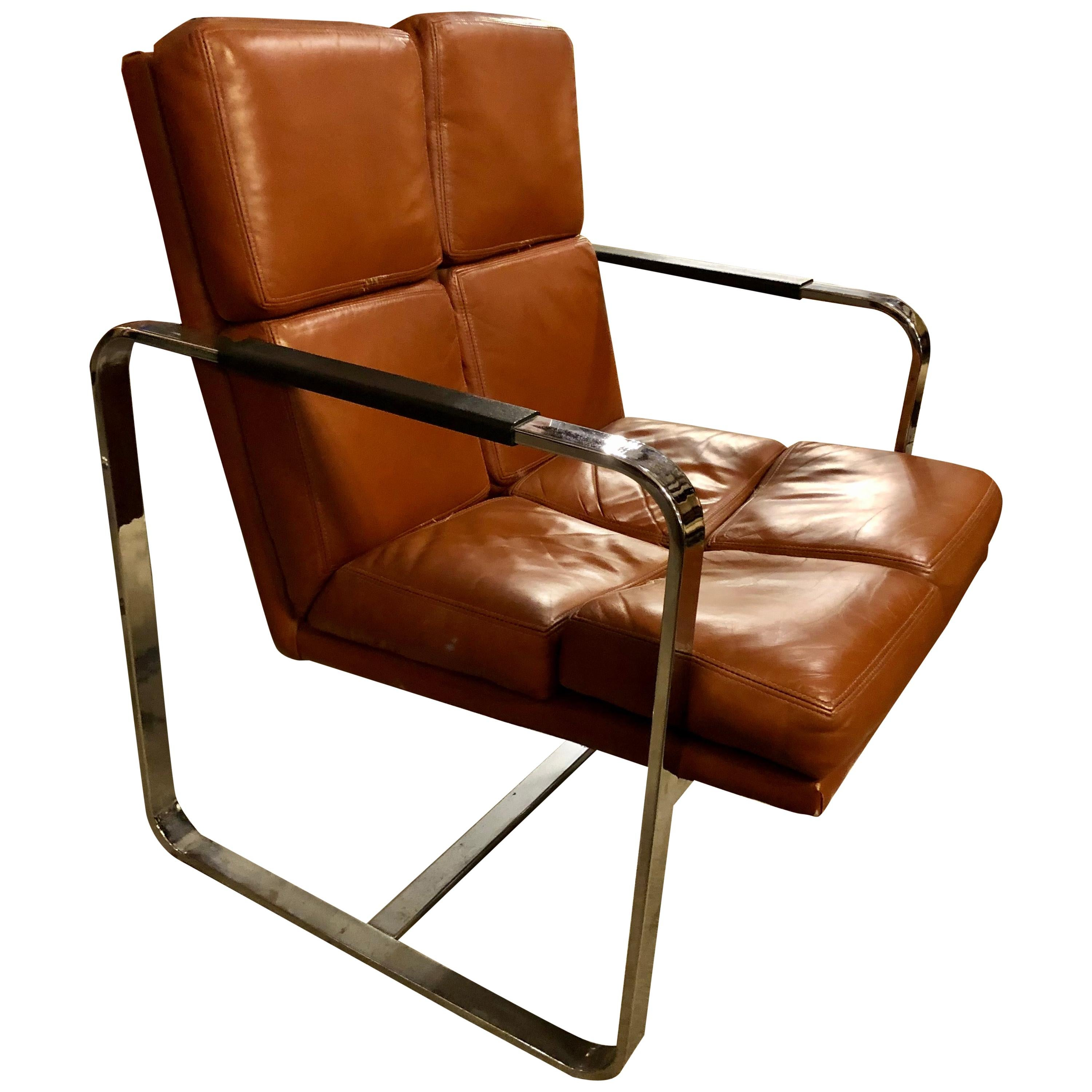 Vintage 1970s Leather and Chrome Armchairs by Milo Baughman for Thayer Coggin