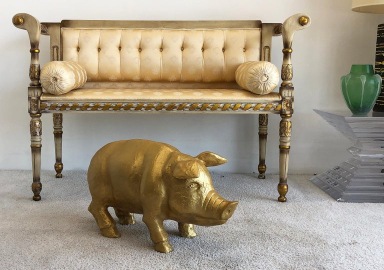Vintage 1970s life-size gilt-plaster pig sculpture  Offered for sale is a large and heavy vintage gilt-plaster pig sculpture. This piece is life-size and quite substantial. This is a fun accent piece and looks cute in any room.  Measures: 24.5