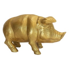 Vintage 1970s Life-Size Gilt-Plaster Pig Sculpture